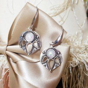 Silver Leaf Dangle Hoop